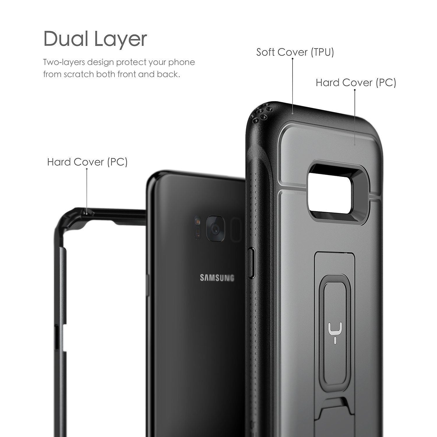 YOUMAKER® Black Samsung Galaxy S8 Plus HEAVY DUTY Shockproof KickStand Case Cover
