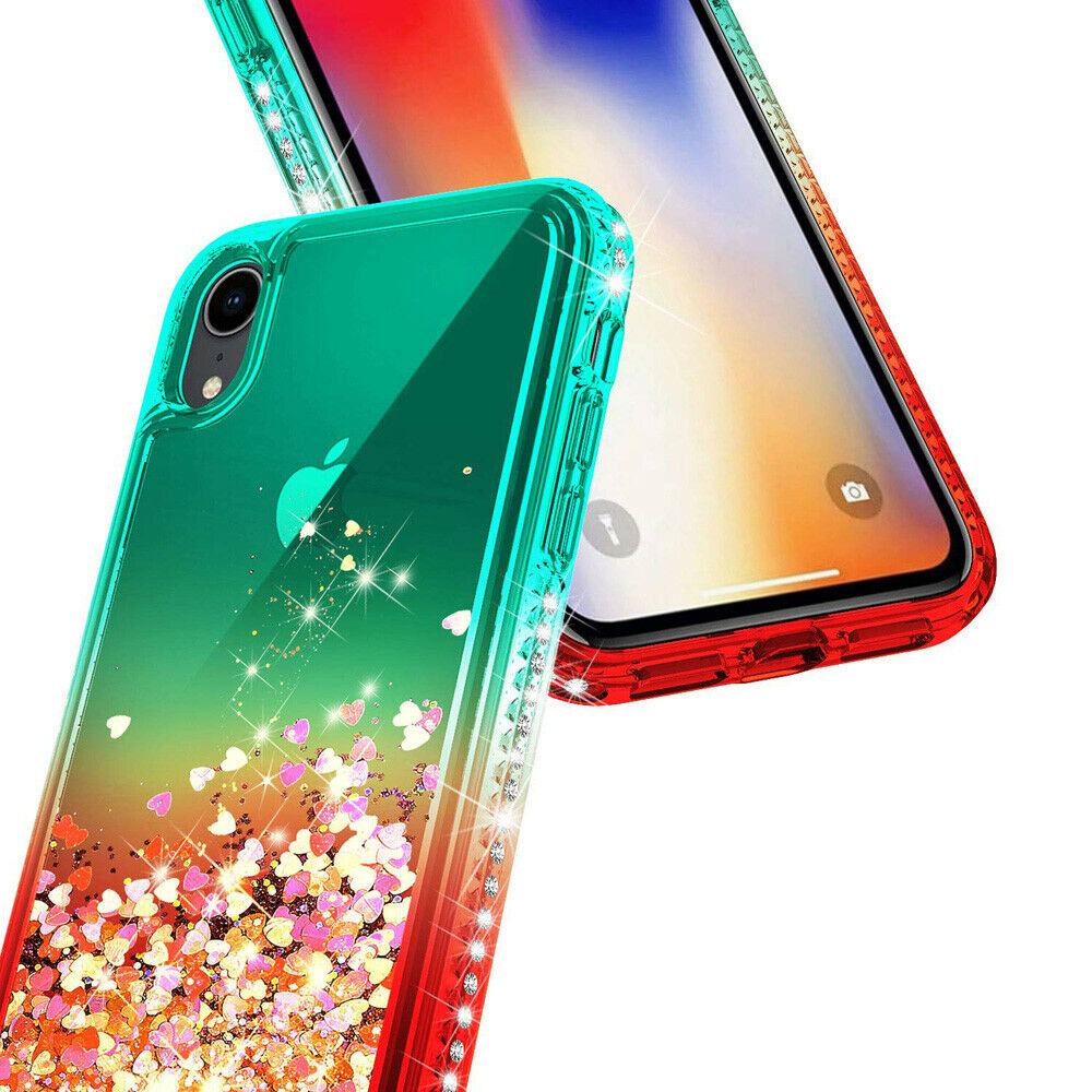Bling Dynamic Glitter Moving Quicksand Liquid Case Cover For iPhone Xs