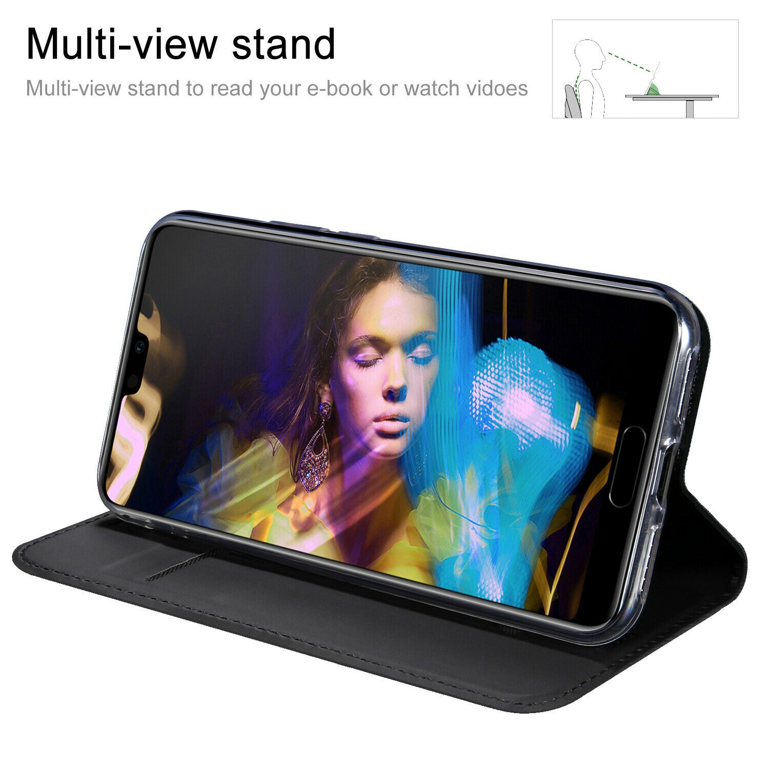 For Huawei Nova 3i Case Luxury Magnetic Leather Wallet Stand Cover-Black