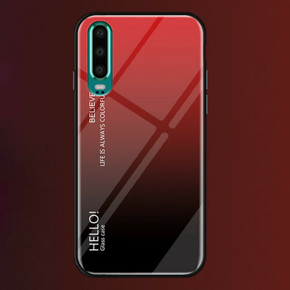 For Huawei Nova 3e Case Shockproof Tempered Glass Bumper Slim Cover-Red
