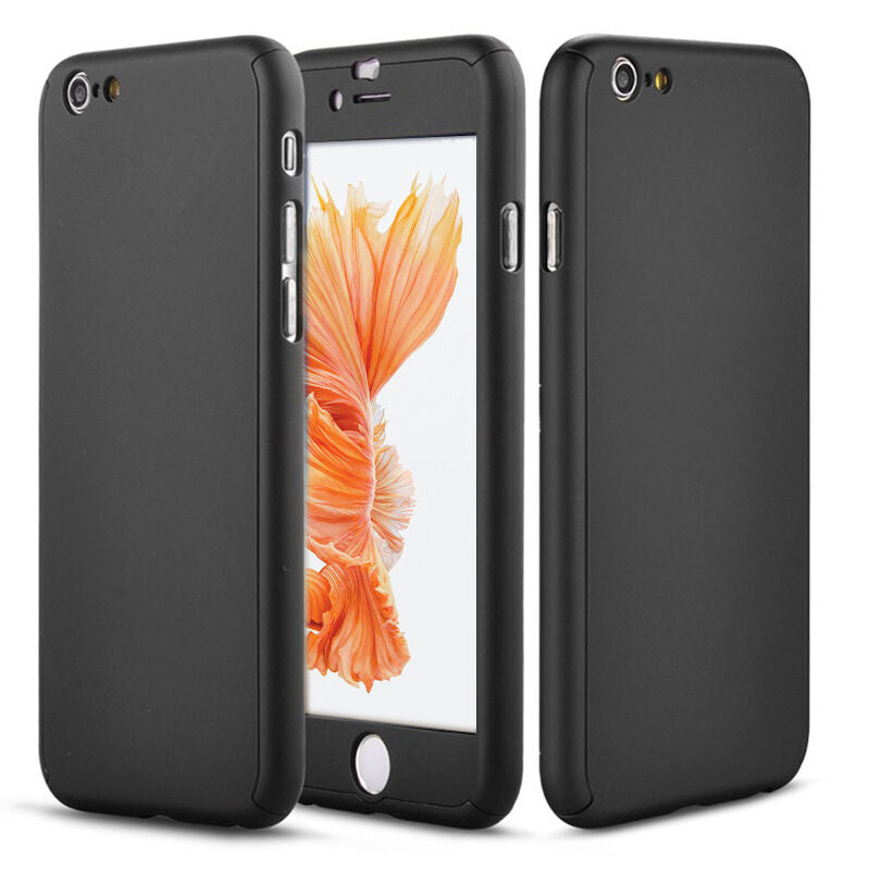 iPhone 7 Full Body Shockproof Case Cover + Tempered Glass-Black