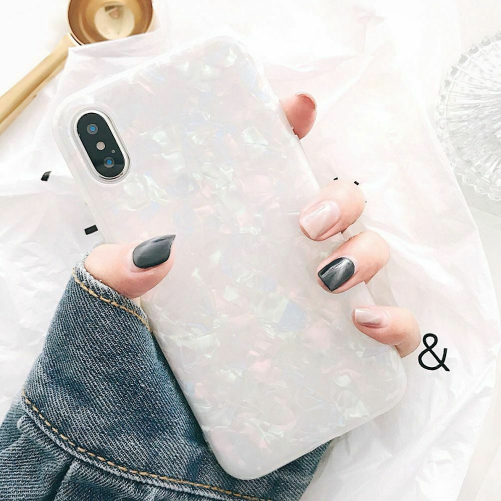 Case For Samsung S8+ Plus Cover Marble Silicone Skin TPU Bumper-Black