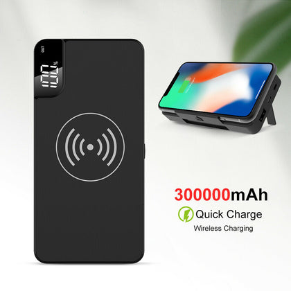 300000mAh Power Bank Qi Wireless Charger USB LCD Portable Battery Charger AU
