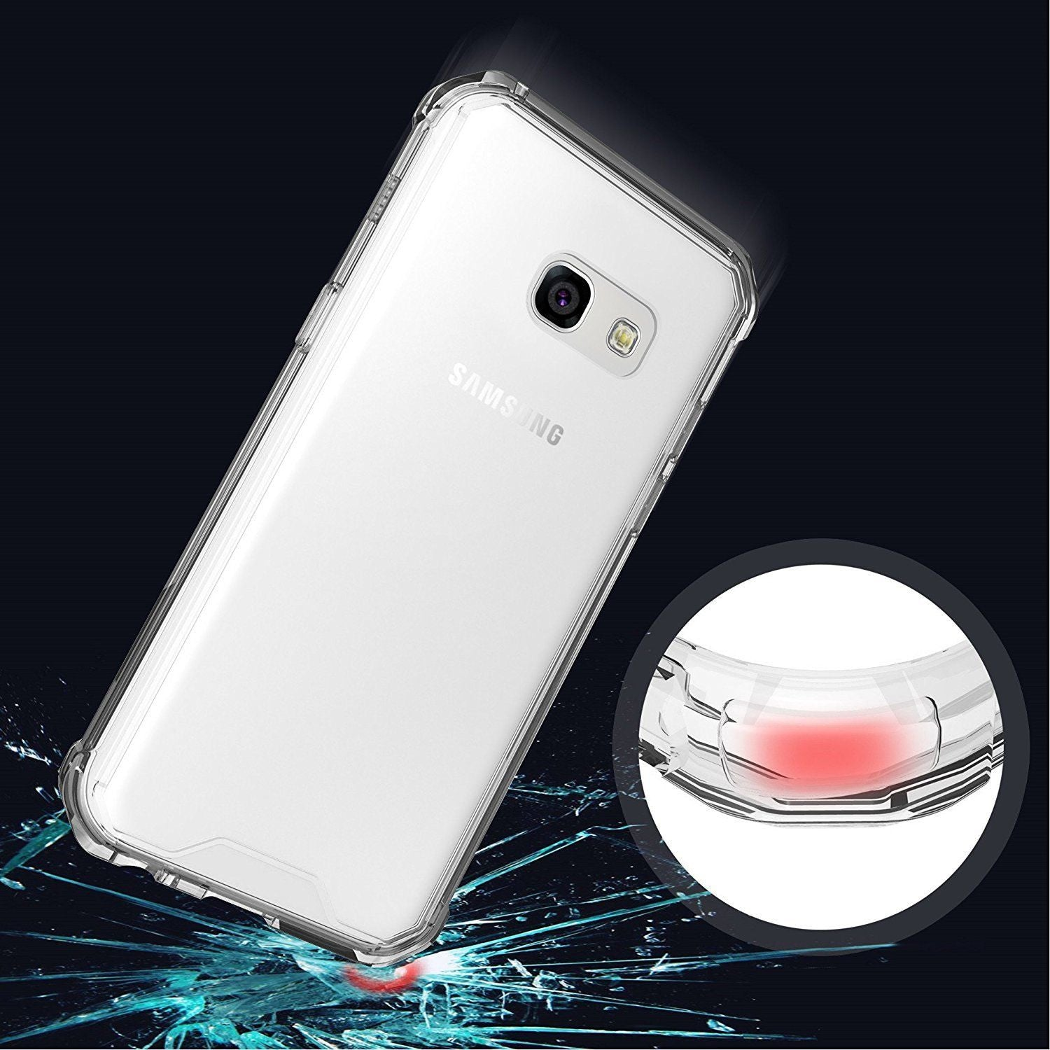 Hybrid Crystal Heavy Duty Bumper Case Cover for Samsung Galaxy A7 2017