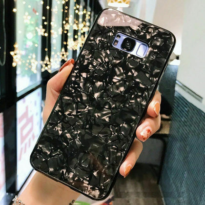 Case For Samsung S8 Cover Marble Silicone Skin TPU Bumper-Black
