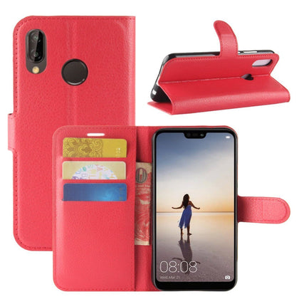 New Premium Leather Wallet Case TPU Cover For HUAWEI Nova 3i-Red