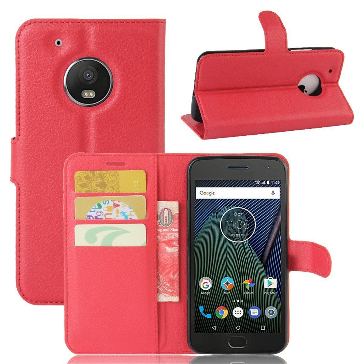 Motorola Moto G5 Plus Case Cover Wallet Flip Leather