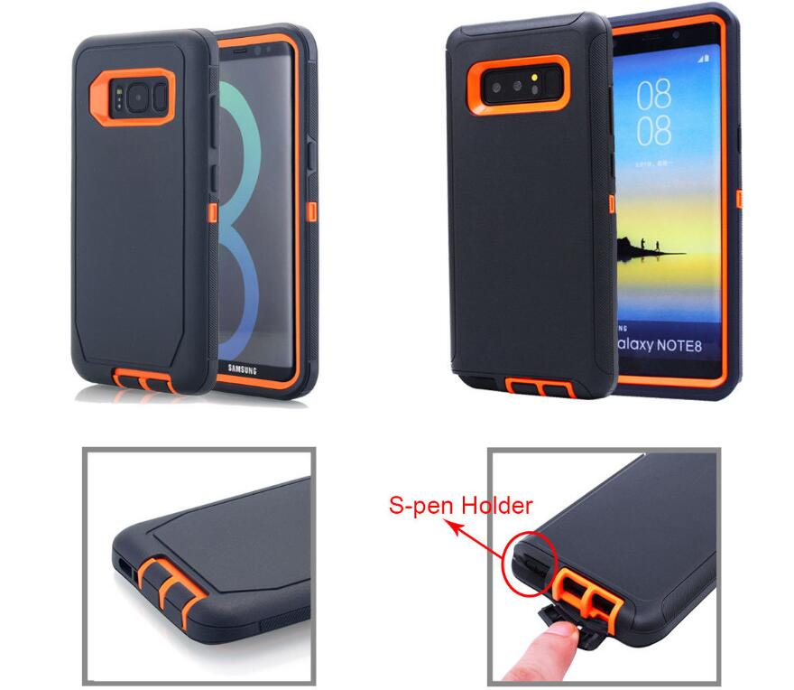 Samsung Galaxy S10E Case Shockproof Hybrid Rubber Armor Rugged Cover-Dark Gray/Orange