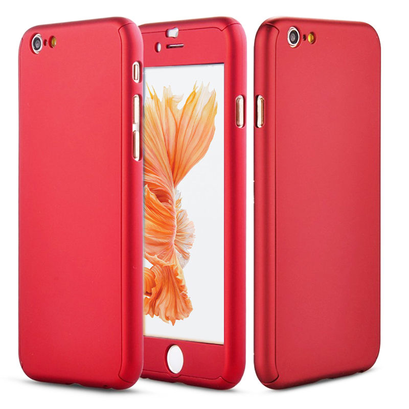 iPhone 6 Plus Full Body Shockproof Case Cover + Tempered Glass-Red