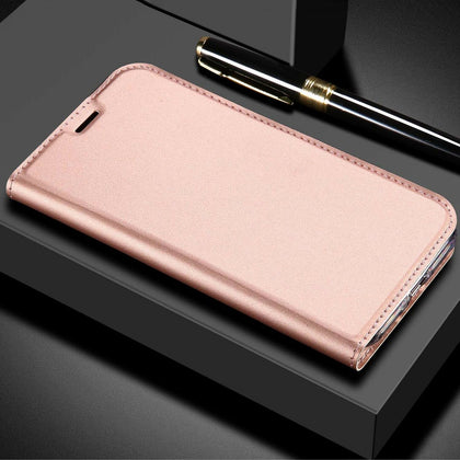 For Huawei Nova 3E Case Luxury Magnetic Leather Wallet Stand Cover-Rose Gold