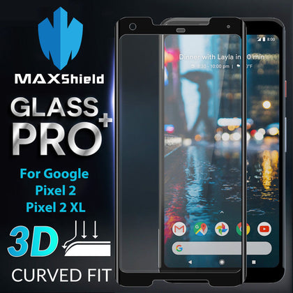 MAXSHIELD 3D Curved Tempered Glass Screen Protector For Google Pixel 2 XL