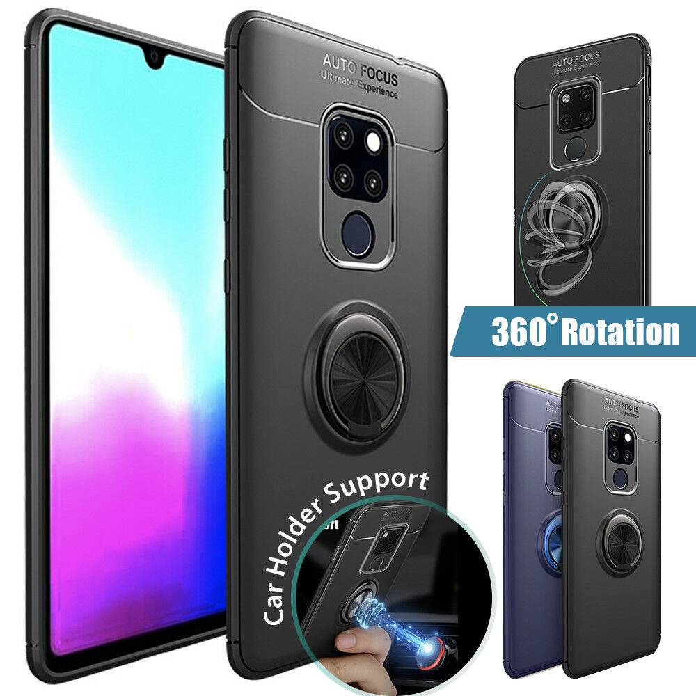 Mate 20 Pro Case Magnetic Car Mount Soft TPU Ring Holder Kickstand Cover Huawei
