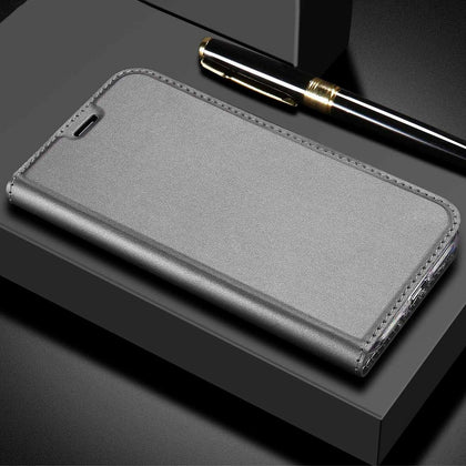 For Huawei Nova 3E Case Luxury Magnetic Leather Wallet Stand Cover-Gray