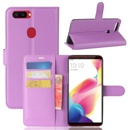 For R15 Pro Premium Leather Wallet Case Cover For Oppo Case-Purple