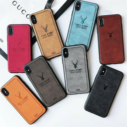 iPhone XR Cloth Case Deer Soft TPU Silicon Slim Back Cover