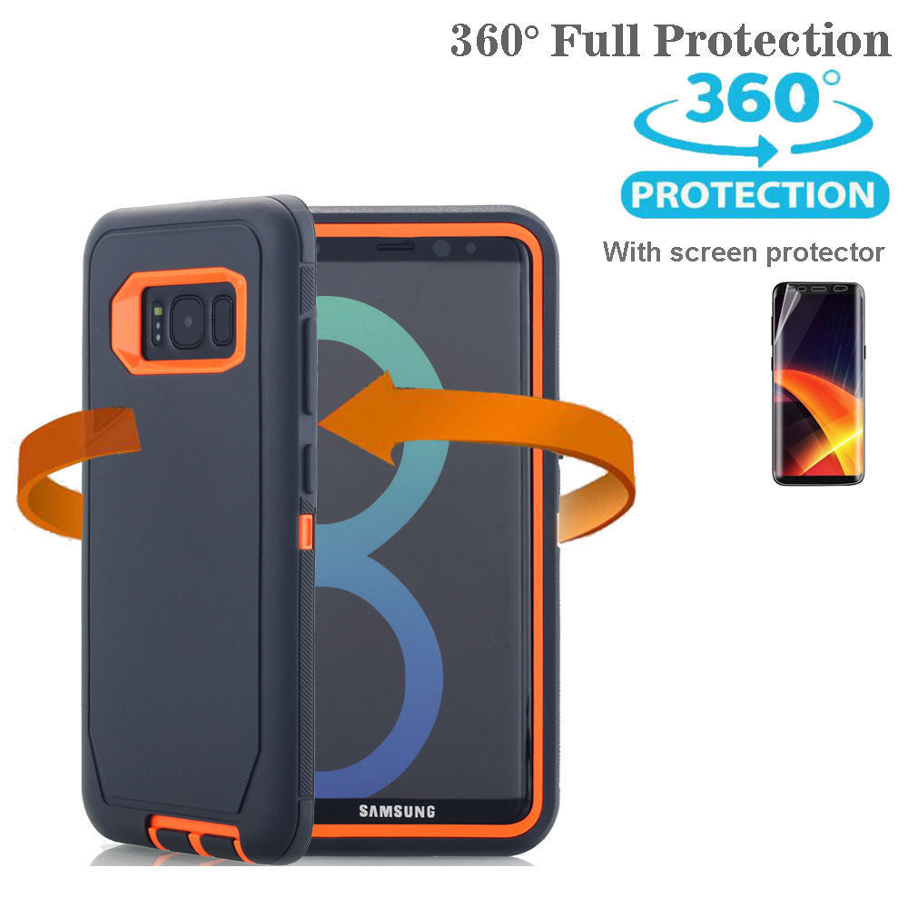 Samsung Galaxy S10 Plus Case Shockproof Hybrid Rubber Armor Rugged Cover-Black