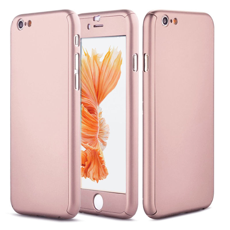 iPhone XS MAX Full Body Shockproof Case Cover + Tempered Glass-Rose Gold