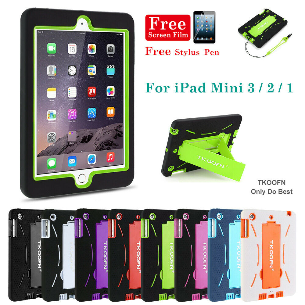 Shockproof Hard Case Heavy Duty Cover with Pen for Apple iPad 2/3/4