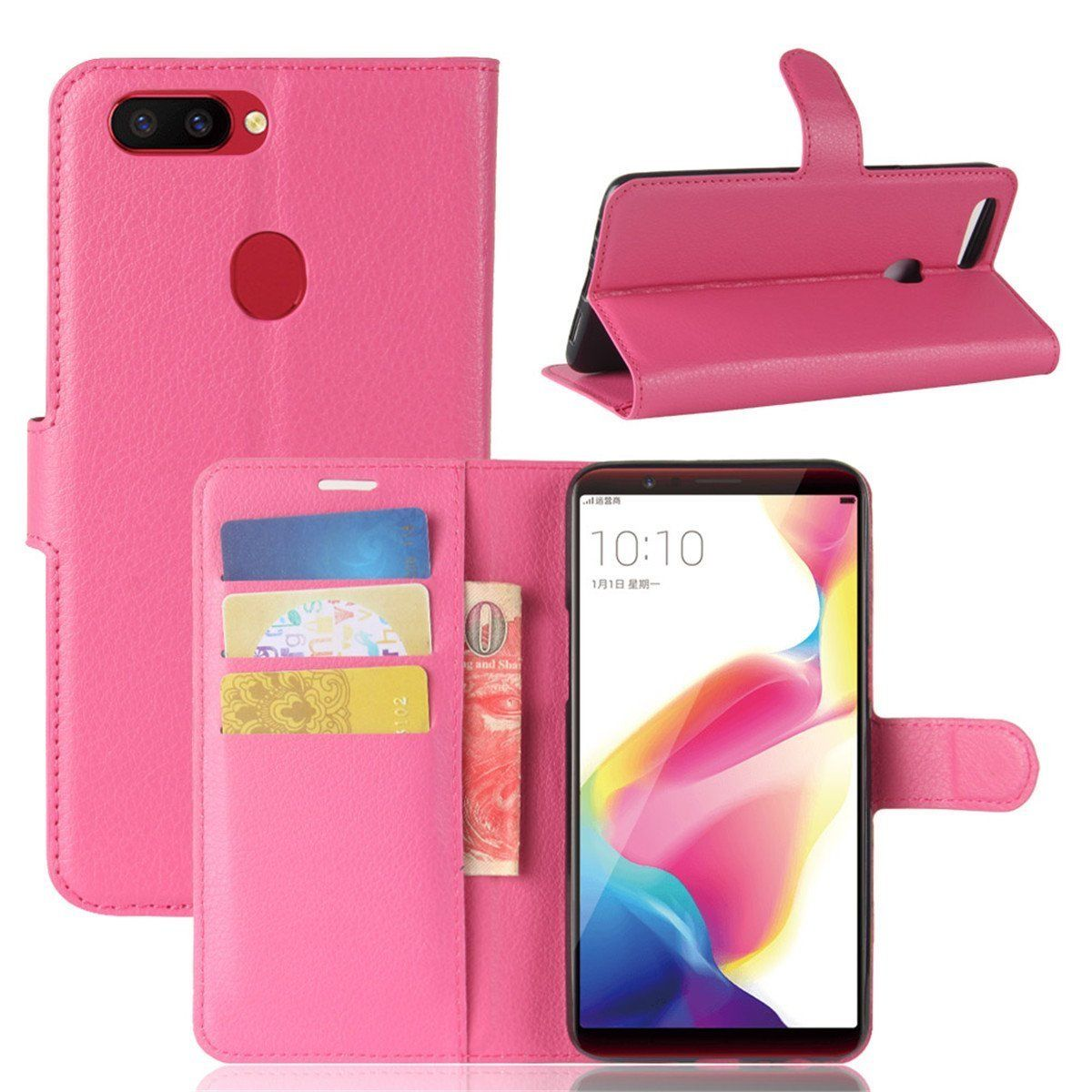 R15 Pro Premium Leather Wallet Case Cover For Oppo Case-Hot Pink