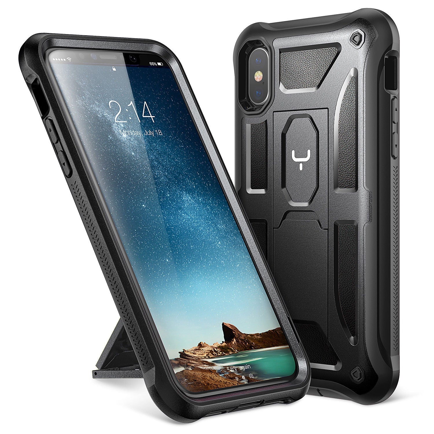 YOUMAKER® APPLE iPhone X  HEAVY DUTY Shockproof KickStand Case Cover (Black)