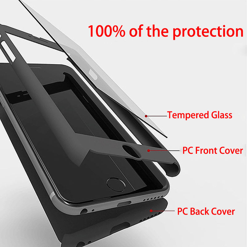 iPhone 7 Full Body Shockproof Case Cover + Tempered Glass-Red