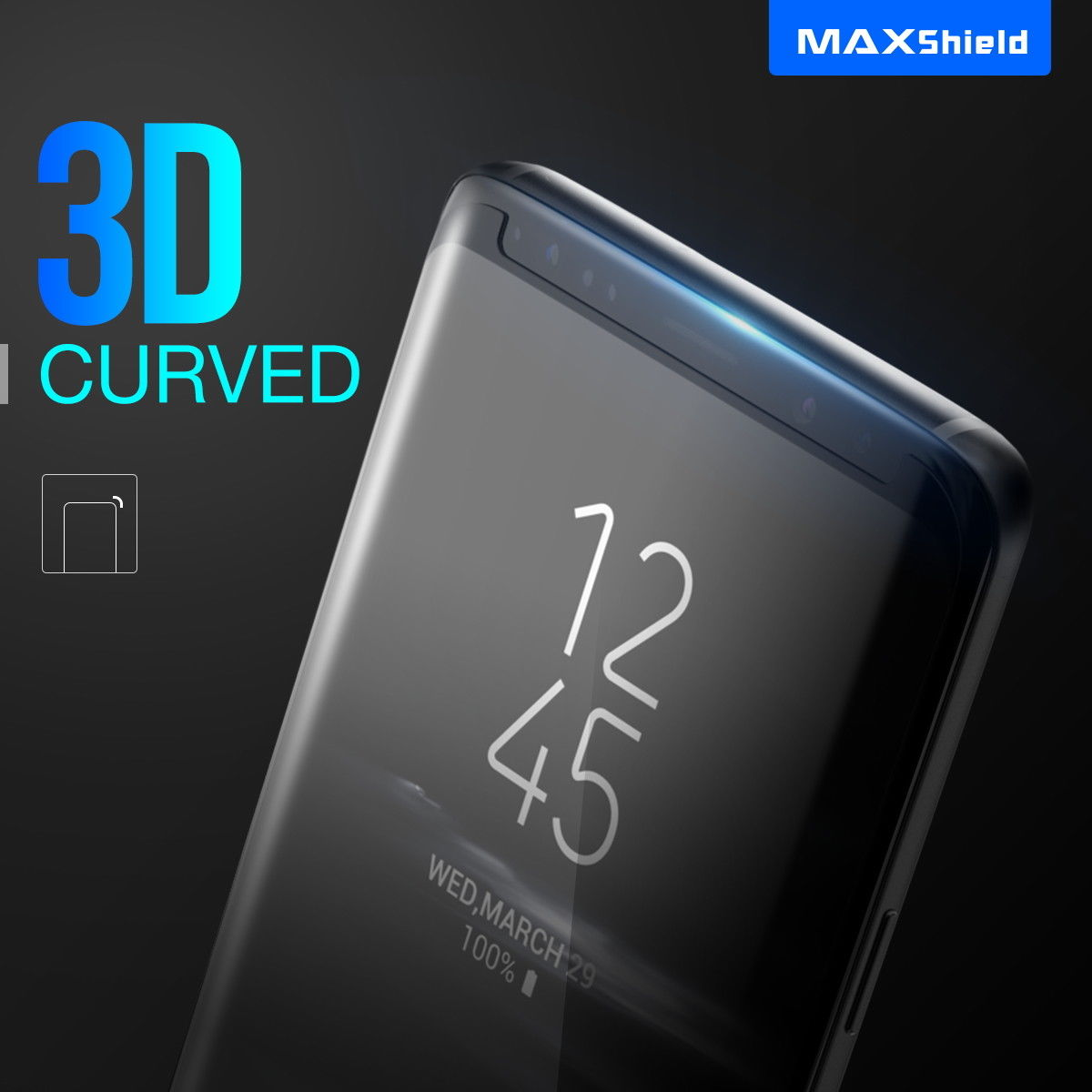 Samsung Galaxy S9 Screen Protector MAXSHIELD Tempered Full Cover Glass