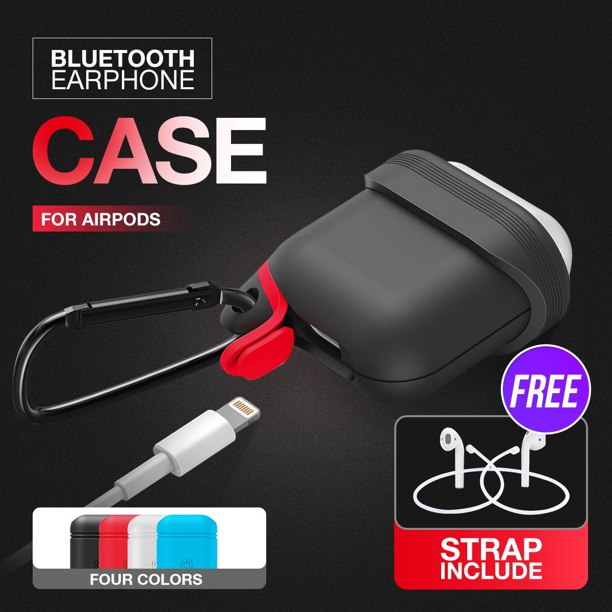 Shockproof Soft Silicone Protective Case Cover For Apple AirPods Earphones+Strap