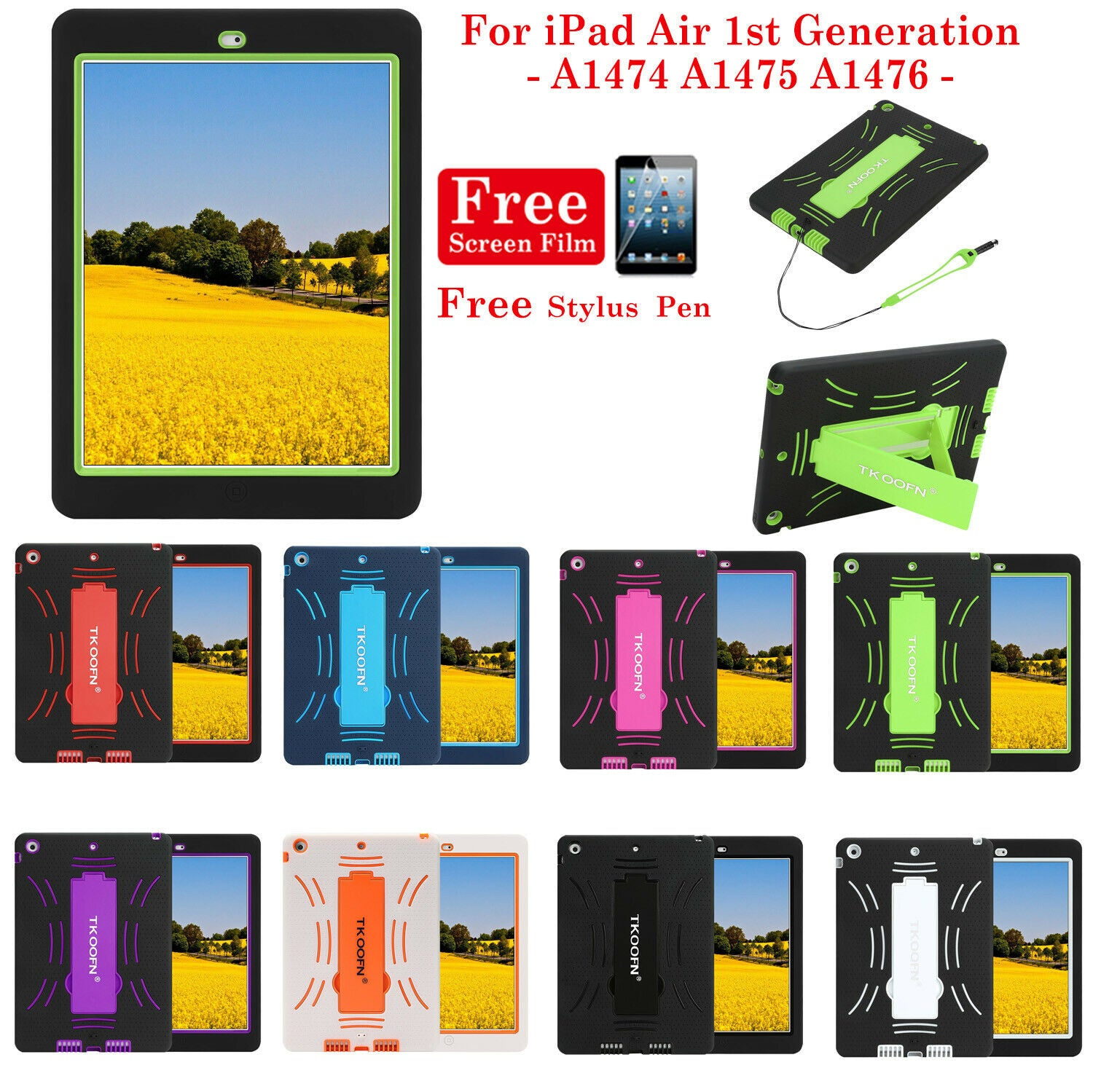 Shockproof Hard Case Heavy Duty Cover with Pen for Apple iPad Air 2