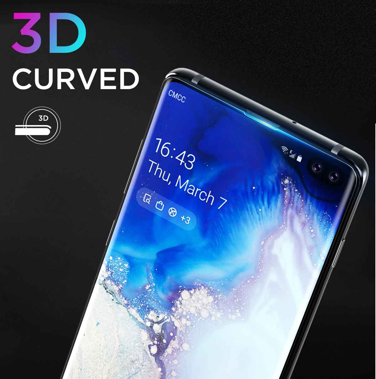 Samsung Galaxy S10+ Plus Case Friendly Tempered Glass Screen Protector