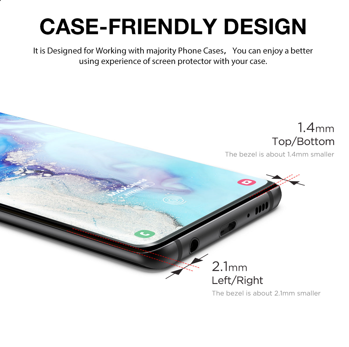 Galaxy S10 Plus Case Friendly Tempered Glass Screen Protector
