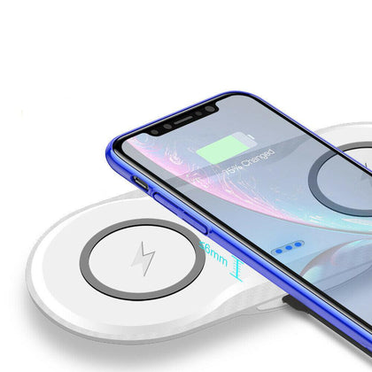 Dual Wireless Charger Phone Fast Charging Pad Mat For iPhone Samsung Galaxy AU For Double 5W-White