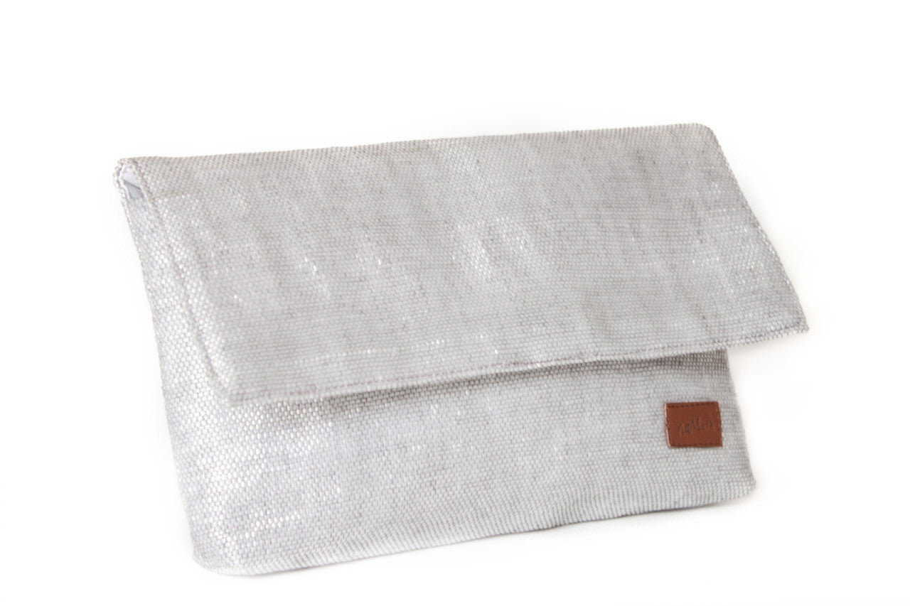 Clutch Silver & Brown