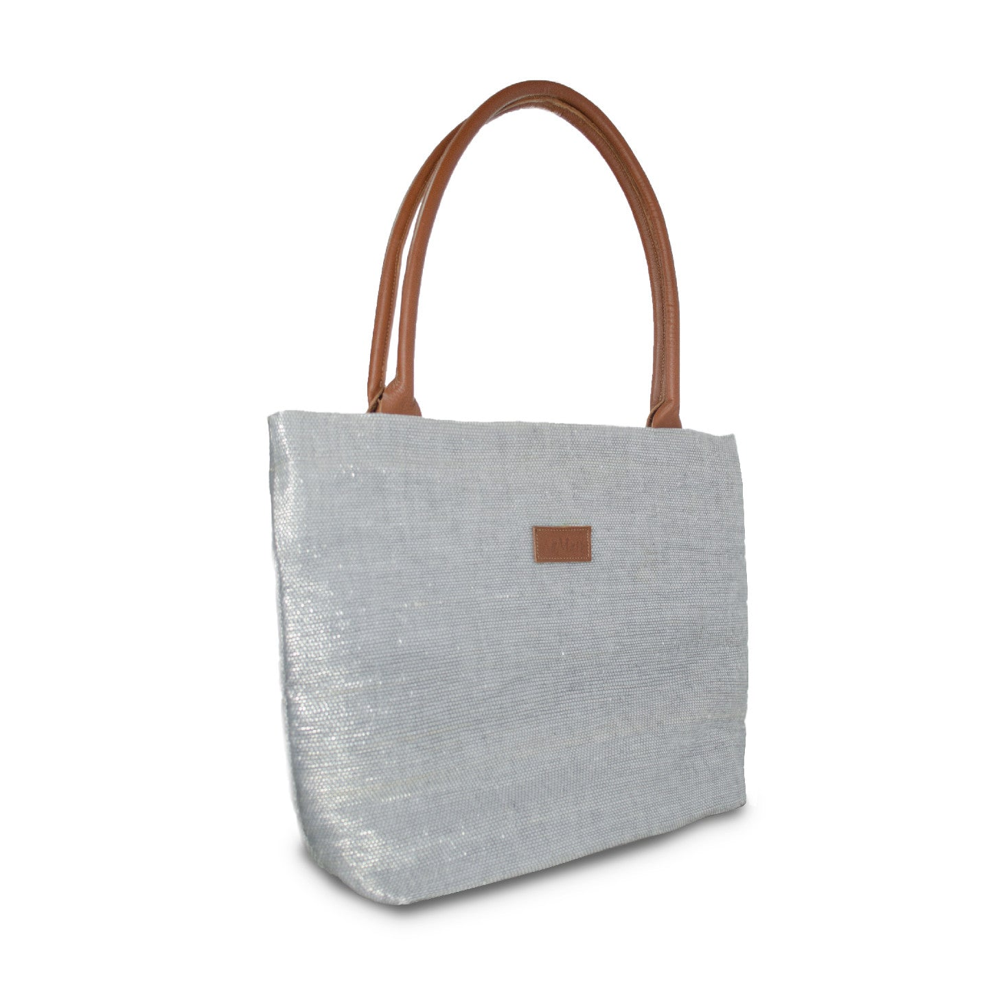 Tote Silver & Brown Leather