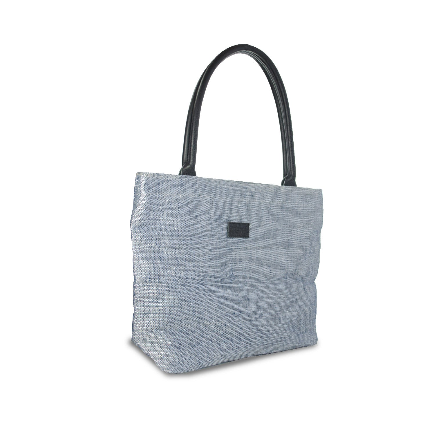 Tote Blue & Silver / Black Leather
