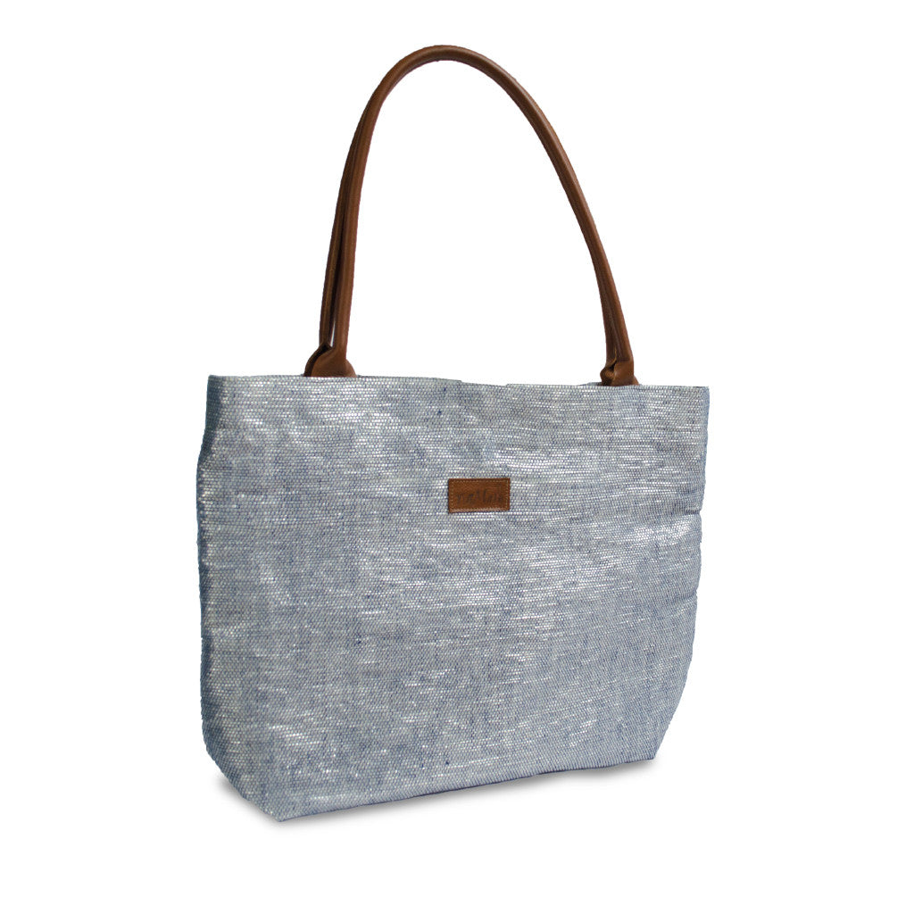 Tote Silver & Blue / Brown Leather