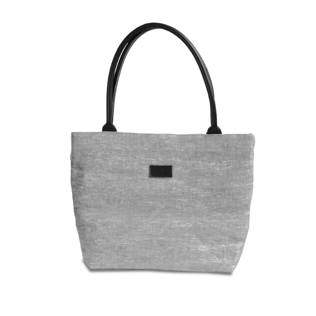 Tote Silver & Black Leather