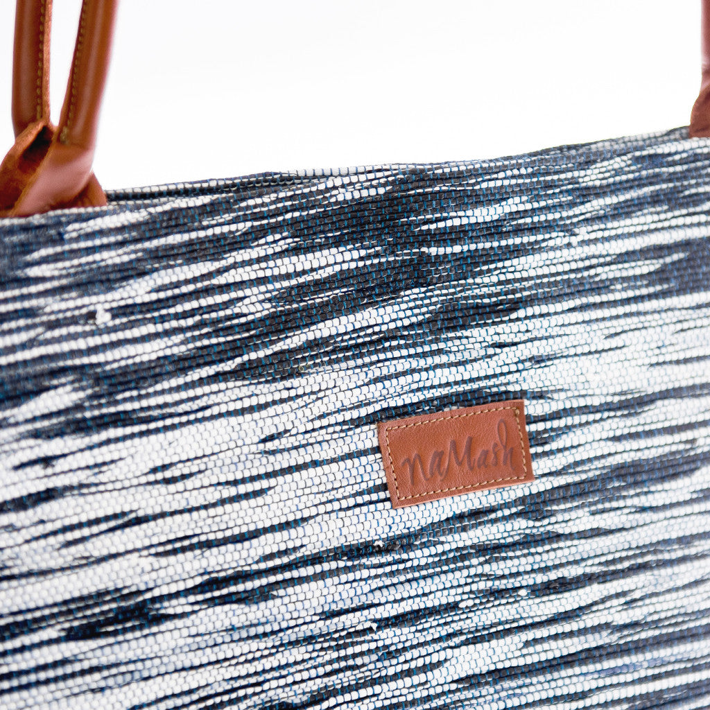 Tote White & Blue / Brown Leather
