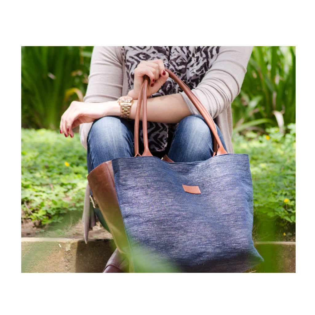 Tote Blue & Brown Leather