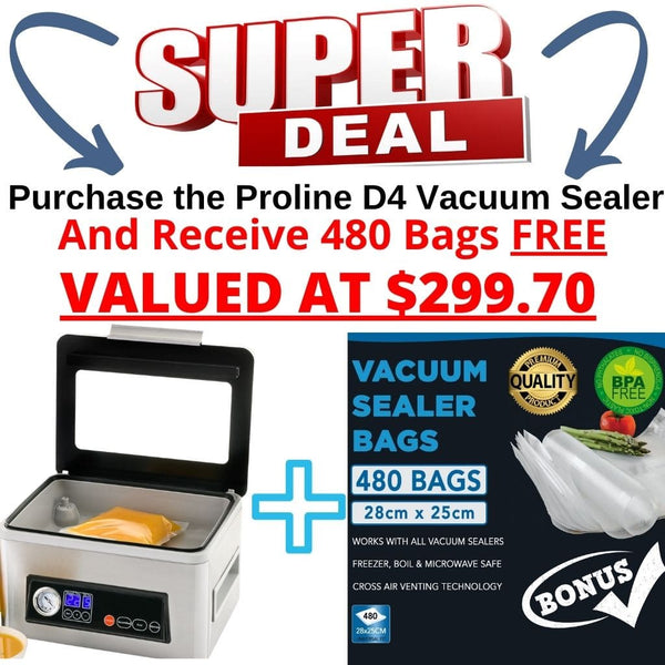 Proline D4 Vacuum Chamber Sealer Cryovac Machine Bonus Bag Offer