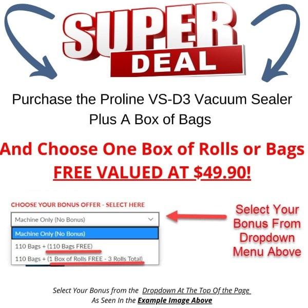 Proline VS-D3 Vacuum Sealer Cryovac Machine Special Bonus Offer