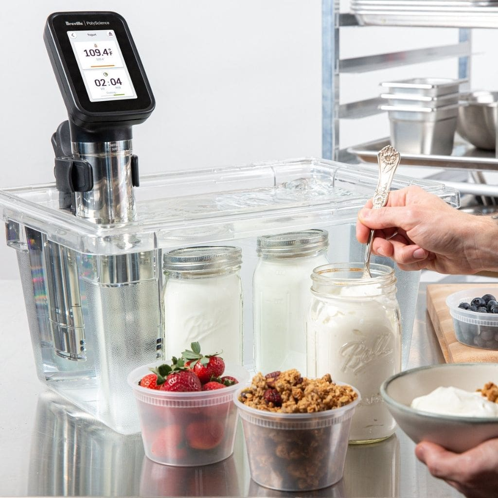 Breville  Polyscience HydroPro Plus Sous Vide Immersion Circulator Showing in Water bath