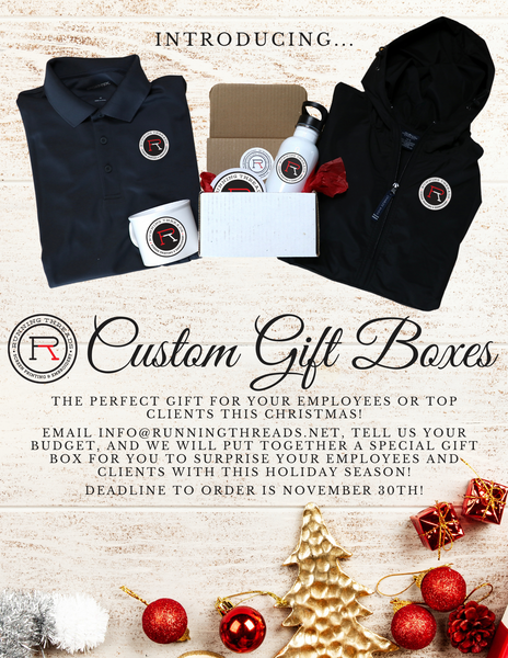 custom gift boxes christmas business corporate apparel running threads screen printing and embroidery