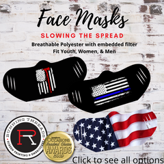 US Flag face mask, Police, Fire and Rescue