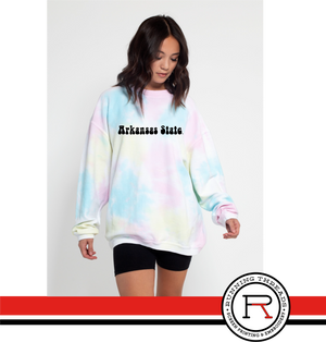 Arkansas State Retro Tie-dye Sweatshirt - Running Threads Screen Printing and Embroidery