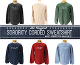 Sorority Corded Crew Sweatshirt - Running Threads Screen Printing and Embroidery