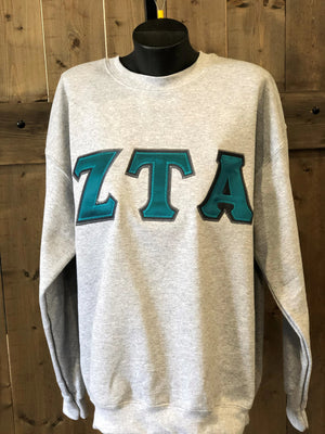 Zeta Tau Alpha Block letter applique sweatshirt - Running Threads Screen Printing and Embroidery