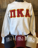 Pi Kappa Alpha Block letter applique sweatshirt - Running Threads Screen Printing and Embroidery