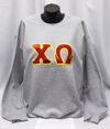 Chi Omega block letter applique sweatshirt Running Threads Screen Printing and embroidery