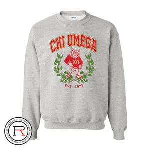 chi Omega owl with laurel crest running threads screen printing and embroidery