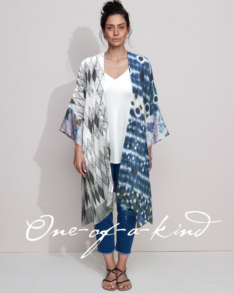 Silk Kimono - Indigo Diamond.... one only